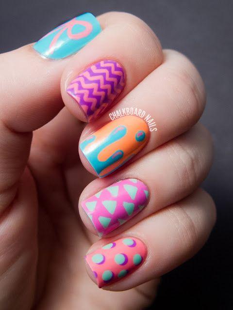 Chalkboard Nails: Hipster Mix and Match Nail Art