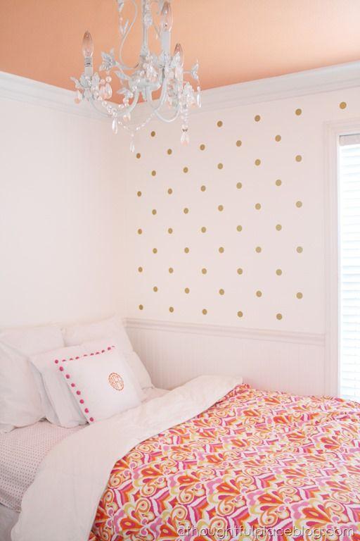 Polka dot wallpaper monogrammed pom pom pillow for Polka dot decorations for bedrooms