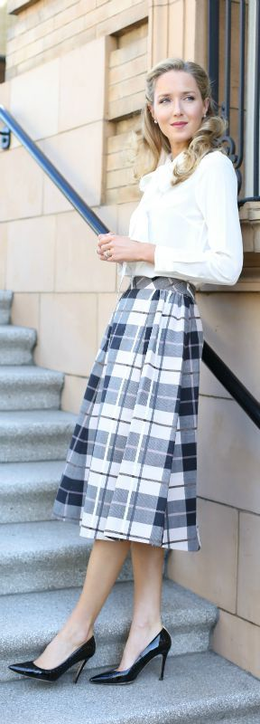 plaid midi skirt, silk long sleeve bow neck blouse, black patent pointy toe pumps {kate spade new york}