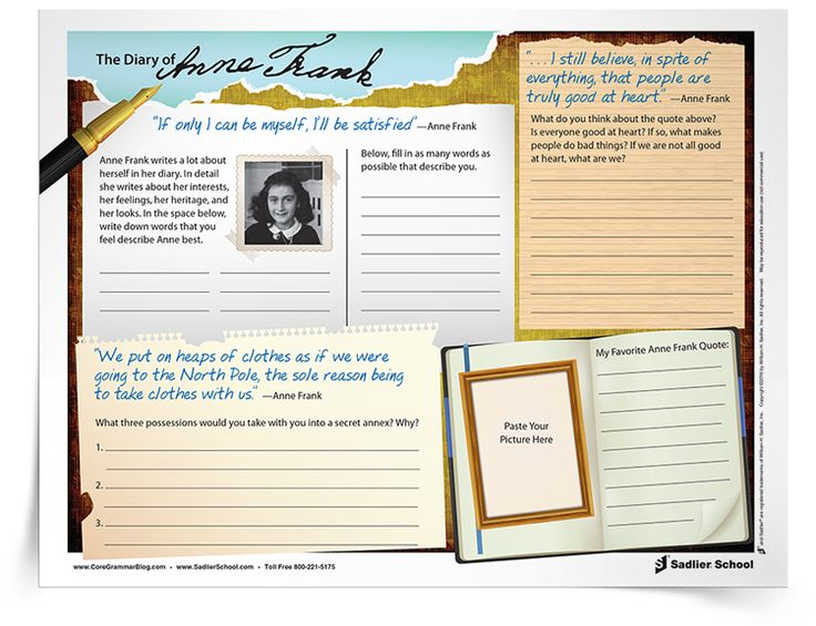 an analysis of the writings in the diary of anne frank Seventy years ago, anne frank made her final entry in her diary -- a  not unlike  the one on which i am writing this now -- a car pulled up in.