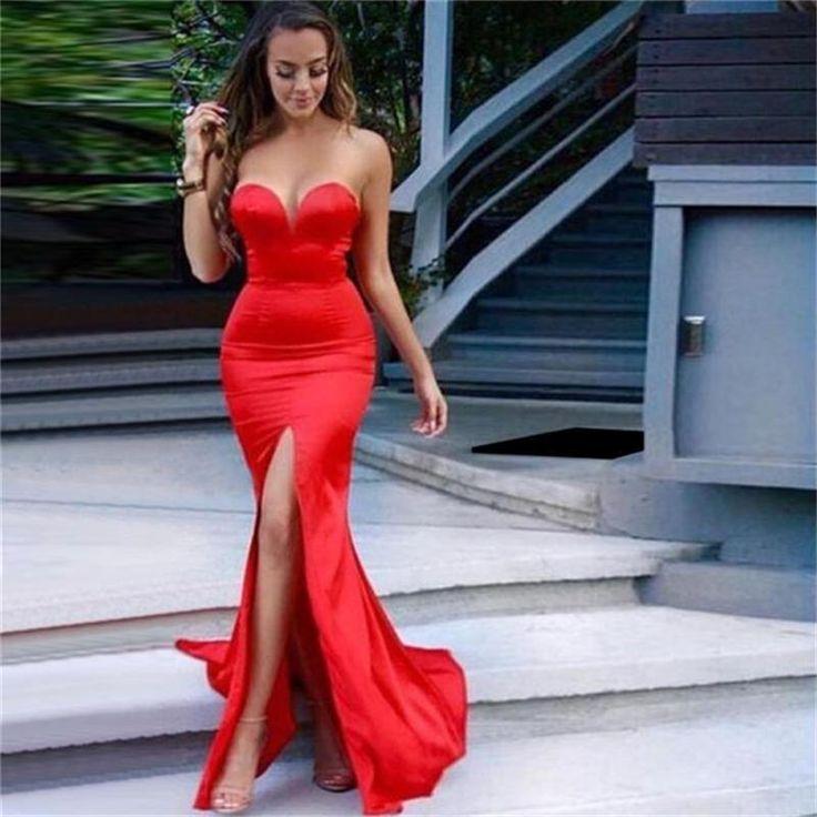 Kleid lang rot strass