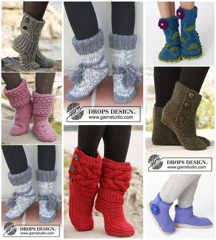 DIY 8 Knitted & Crochet Slipper Boots Free Patterns -