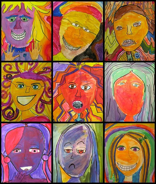 """expressive portraits by my 5th graders. We talked about emotions - that all people have them and that it's ok. we talked about the fact that some people only want to hear/see the 'good' emotions, and that it's really not realistic. the kids agreed that sometimes we experience not so great emotions, and those make the good ones seem that much better. they used line and color to convey specific feelings, and then wrote a short description or poem to go w/ it.."""