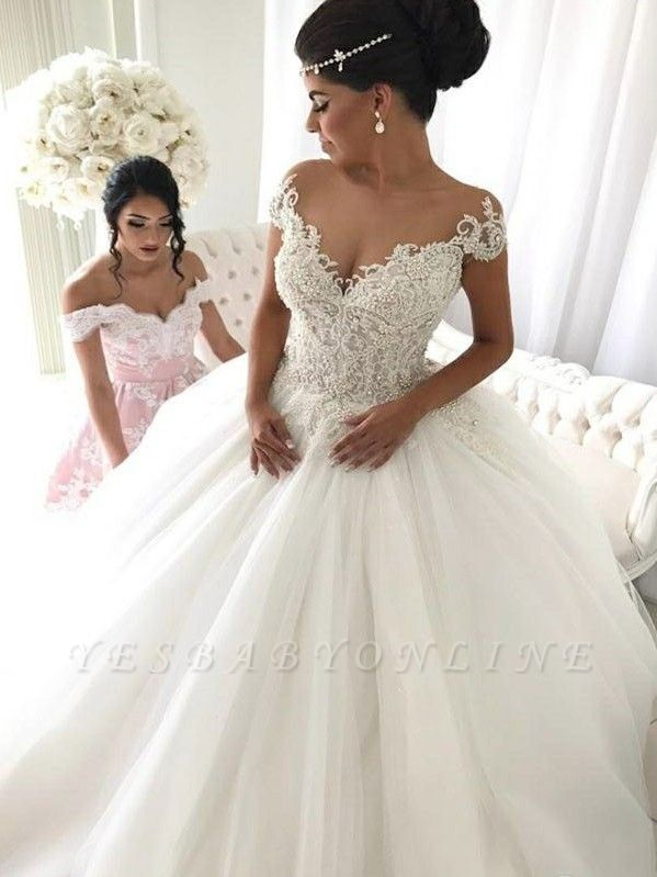 Glamorous Princess Ball Gown Sleeveless Wedding Dresses Off The Shoulder V Neck Bridal Gowns Ivory Bridal Gown Wedding Dresses Uk Ball Gown Wedding Dress