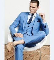 Italian Style Sky Blue Groom Tuxedos Slim Fit Mens Wedding Prom Dinner Suits Casamento Terno Best Man Suit (Jacket+Pants+Vest)