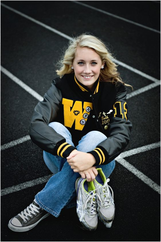 Senior Portrait / Photo / Picture Idea - Cross Country / Track - Girls - Cleats / Shoes - Varsity Jacket