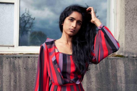 Vintage Designer 1980s Striped Red & Black Spring Dress - by Vera Mont - Size M