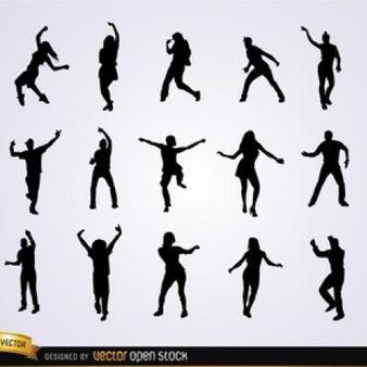 Des gens qui dansent vecteur silhouettes