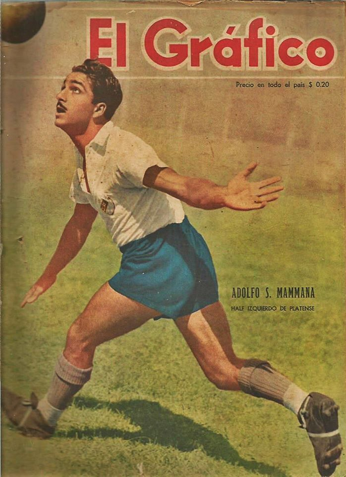 """Adolfo Mammana who played on the left midfield of Club Atletico Platense for many years, here appears on the cover of """"El Grafico"""" magazine of 21st February 1947"""