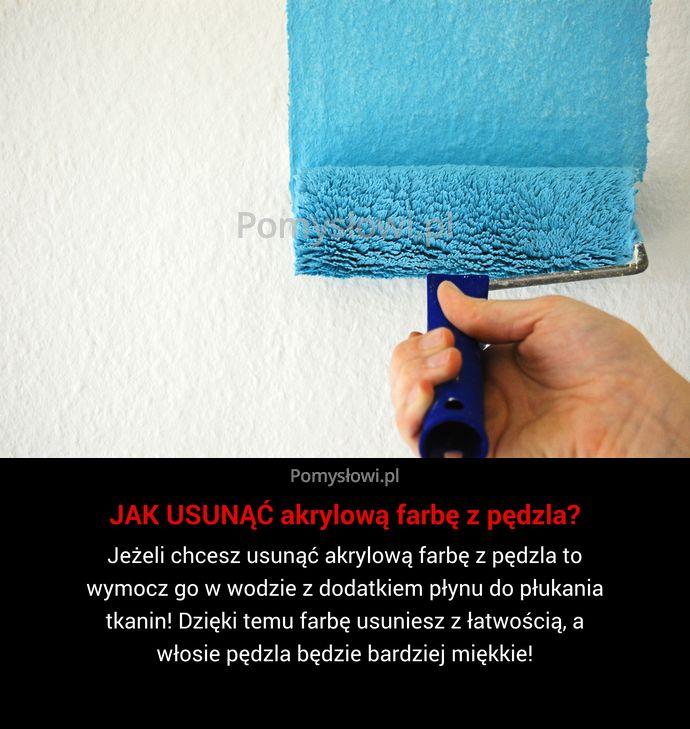 Jeżeli chcesz usunąć akrylową farbę z pędzla to wymocz go w wodzie z dodatkiem płynu do płukania tkanin! Dzięki temu ...