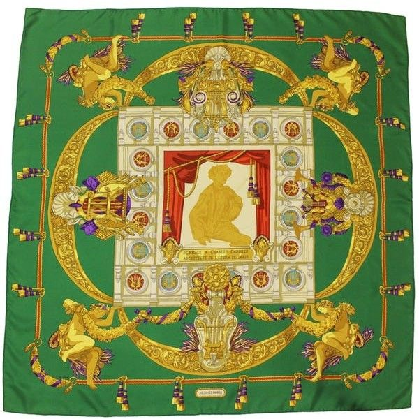 Hermes Green & Gold Silk Scarf (1.410 DKK) ❤ liked on Polyvore featuring accessories, scarves, pure silk scarves, gold scarves, hermes shawl, silk shawl and green shawl
