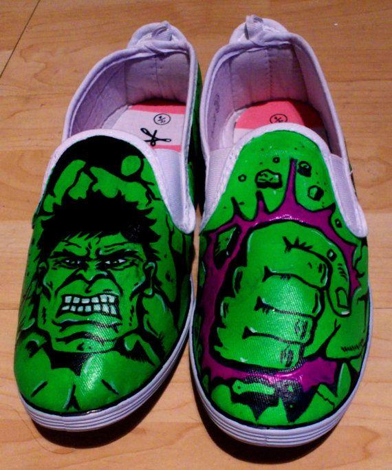 Incredible Hulk - Hand Painted Pumps. #marvel #hulk