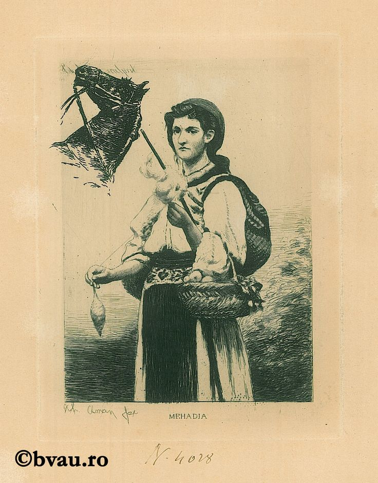 """Theodor Aman, Mechadia, gravura în aramă. Imagine din colecțiile Bibliotecii """"V.A. Urechia"""" Galați."""