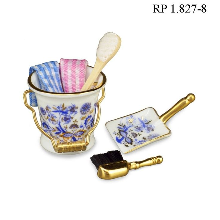 Cleaning Bucket Set Dollhouse Miniature Reutter Porcelain