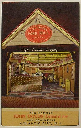 1940s ATLANTIC CITY shore TAYLOR HAM Pork Roll NEW JERSEY Vintage Postcard Storefront