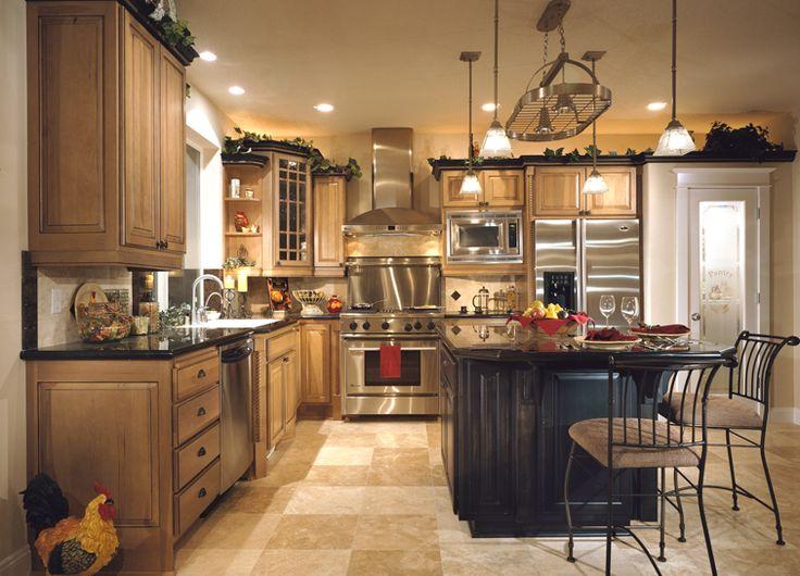 Maple Cabinets With Chocolate Island | Cornerstone Kitchens   Hickory