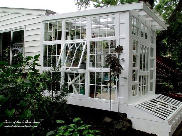 repurposed windows greenhouse, diy, gardening, home improvement, repurposing upcycling, Exterior Repurposed Windows Greenhouse