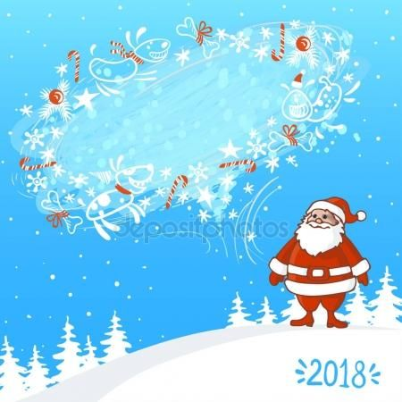 Vector Illustration of an Abstract Christmas Greeting Card with Santa Claus and blizzard bubble for text with happy dogs on winter background.