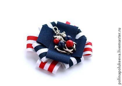 """SALE! Брошь с якорем """"Sailor"""" - брошь,тельняшка,полосатый,якорь,морской стиль"""