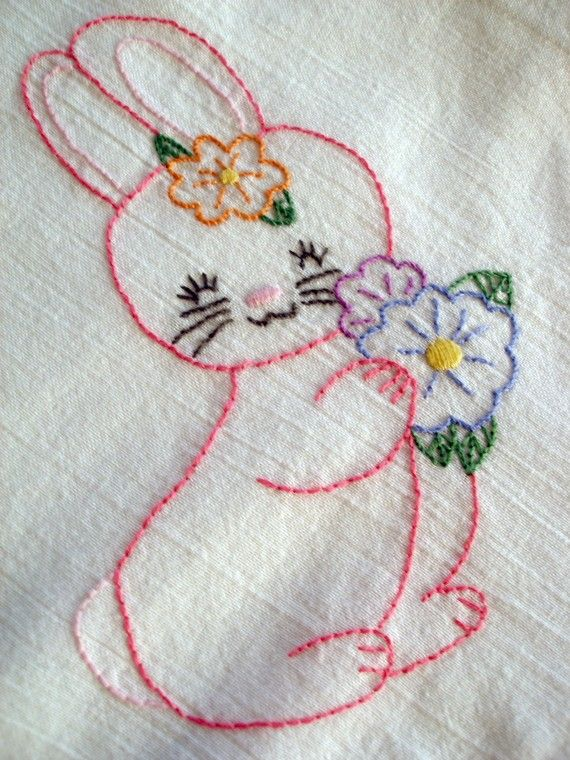 Bunny- Hand Embroidered Towel