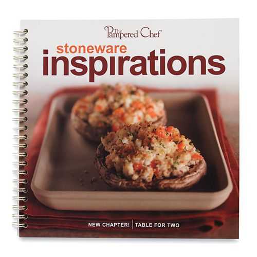 """The Pampered Chef® Stoneware Inspirations  More than 60 inspiring recipes made using our Stoneware Collection. Chapters feature """"Easy Appetizers,"""" """"Main Dishes & More,"""" """"Something Sweet,"""" and """"Table for Two."""" Includes make-ahead recipes for multiple family meals, recipes specially created for smaller households, and a section on Stoneware use and care. Spiral bound. English only."""