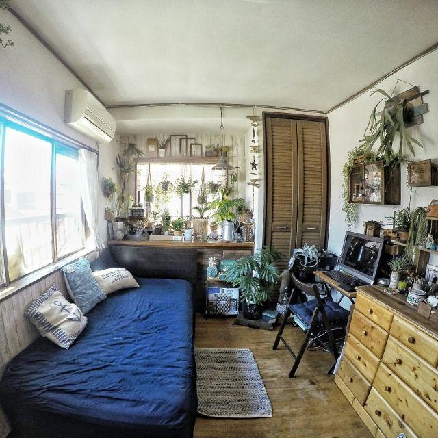 chobiさんの、ベッド周り,B-COMPANY,IKEA,DIY,植物のある暮らし,出窓,夏仕様,【植中毒】,夏,のお部屋写真