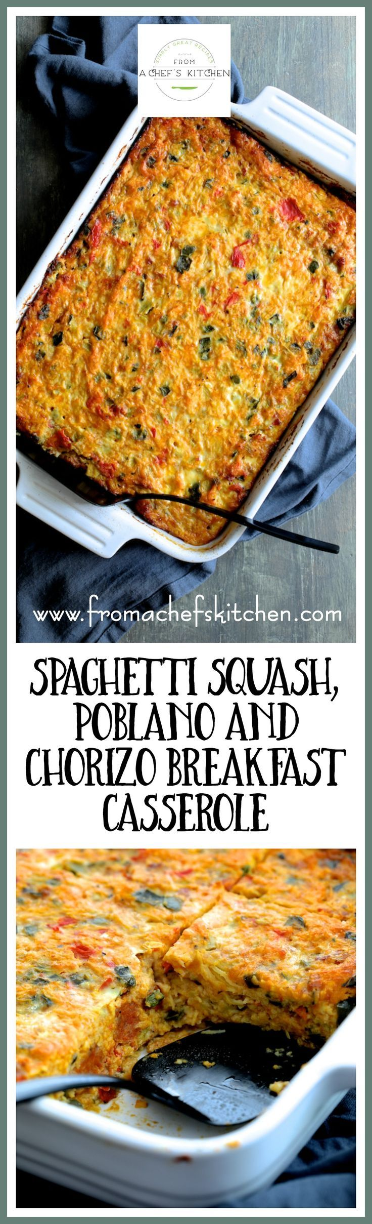 Spaghetti Squash Poblano Chorizo Breakfast Casserole is how you do low-carb for breakfast or brunch with flavor!  This Southwestern-inspired dish can be assembled the day before and when baked, individual pieces reheat beautifully! via @chefcarolb
