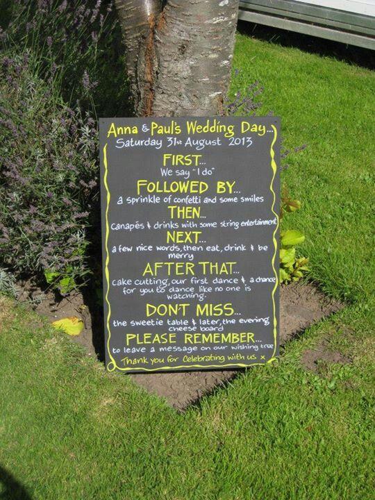Order of the day wedding blackboard