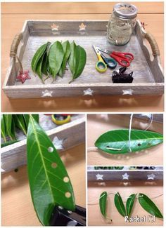 Punching & threading with leaves - a Hungry Caterpillar fine motor activity.