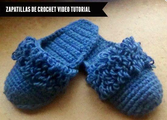 Zapatillas de crochet con 2 hebras de lana