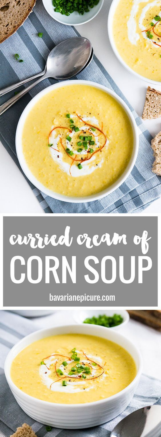 This Curried Cream of Corn Soup is creamy, a little bit spicy, and full of flavor! It makes a great weeknight meal - 15 minutes and you have a delicious dinner. Serve with baguette or naan bread!