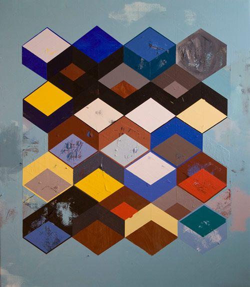 jeffdepner.com    Jeff Depner, Reconfigured Grid Painting no.18acrylic on canvas / 50x43 / 2012    found via robotmafia.com  Source: jeffdepner.com  #ART #jeff depner #illustration