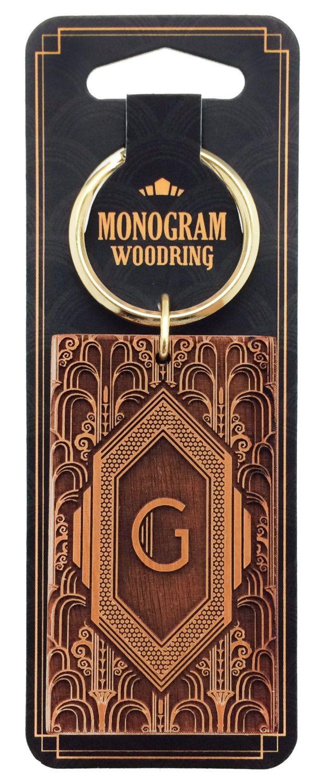 Monogram Art Deco Keyring Unique Engraved Wooden Key Chain