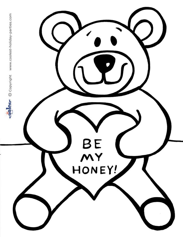coloring pages teddy bear heart | 72 best Valentine Printables images on Pinterest | Kids ...