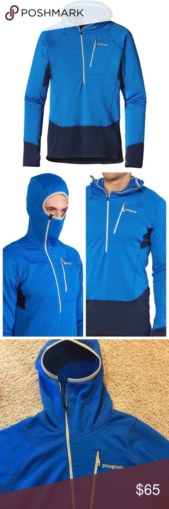 """Patagonia R1 Men's """"Hoody"""" Used but in excellent condition! 🎿 3/4 zip, mid-layer hoodie w/ thumb holes, left-chest pocket & """"balaclava-style"""" hood.  An awesome mid-layer, but looks great and is super warm when worn alone as a normal pullover.    • Exclusive to Patagonia, this fabric offers permanent odor control is light & breathable w/ outstanding stretch & durability. • Snug-fitting hood fits comfortably under helmet. • Raglan sleeves for increased mobility. • On-seam thumb holes for…"""