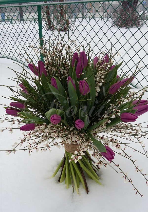 Kytice z tulipánů a kručinek, a bouquet of tulips and genistas. Букет из тюльпанов и дрока