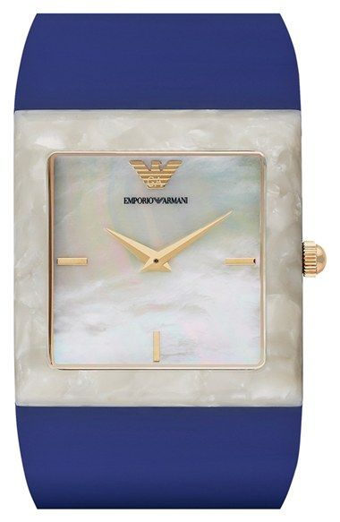 A smooth acetate cuff sports a gorgeous square watch of luminous mother-of-pearl, creating a chic and modern accessory. 38mm square case. Two-hand quartz movement. Mineral crystal face. Acetate/mother-of-pearl. By Emporio Armani; imported.