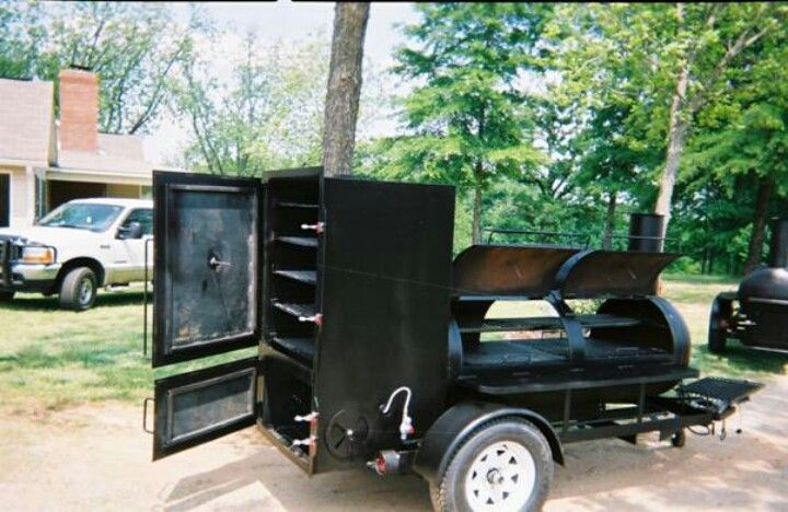 Combo Vertical And Horizontal Smoker On A Trailer Gear