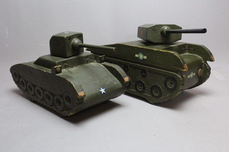 Two WWII Large Scratch Built Naive Wooden Tanks Trenchart  | eBay