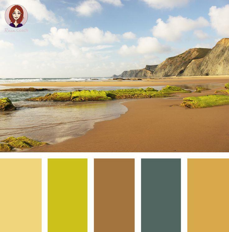 Farben der Natur!  Erdige Beige- und warme Brauntöne mit Farbakzenten in frech leuchtendem Grün. Ein wenig Petrol-Blau bringt Ruhe.  Inspiriert vom Praya da Cordoama, Algarve, Portugal.