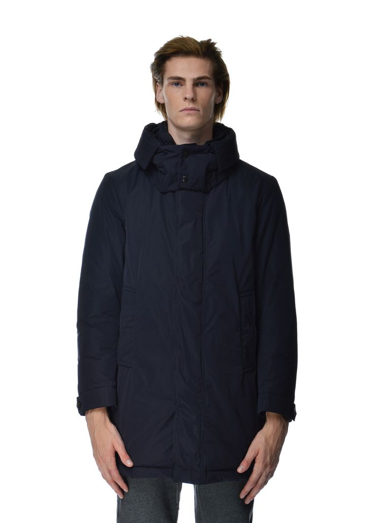 Moncler - Fall Winter 2015 - Menwear // Rousseau navy coat with removable hood