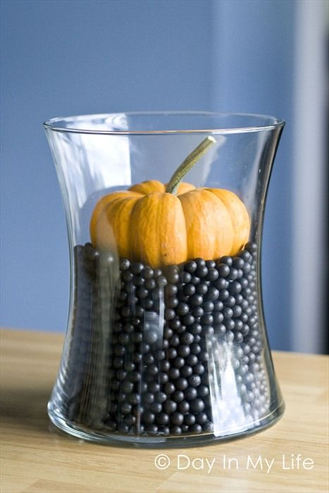 Halloween centerpiece - black beans & mini pumpkin