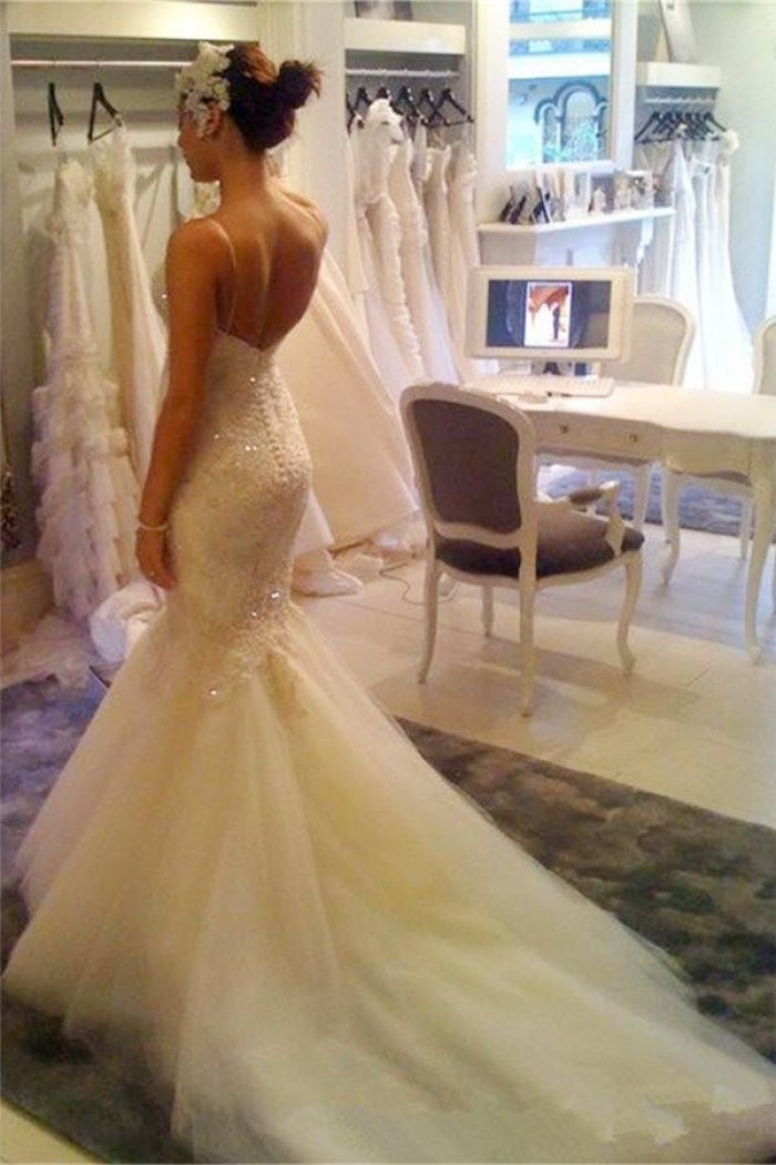 Sexy V Neck Mermaid Wedding Dress Cheap Spaghetti Straps Lace Backless Bridal Gown