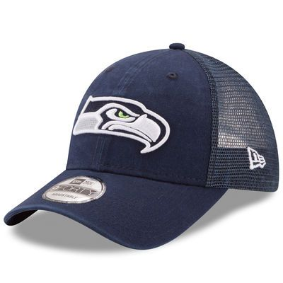 Seattle Seahawks New Era Trucker Washed 9FORTY Adjustable Hat - College Navy
