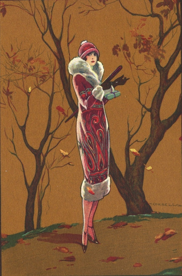 Art Deco Autumn Illustration by T. Corbella