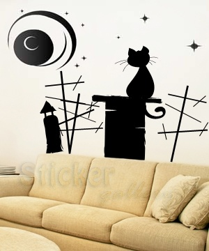 A lonely cat on roof... great wall decal...