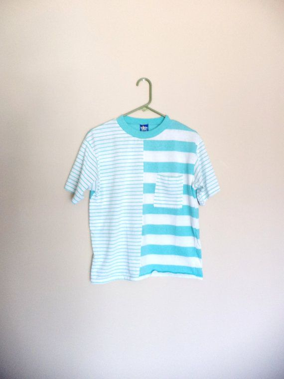 1980s Funky Mismatched Stripes Pastel Baby Blue Shirt by MagicUnicornVintage, $14.00