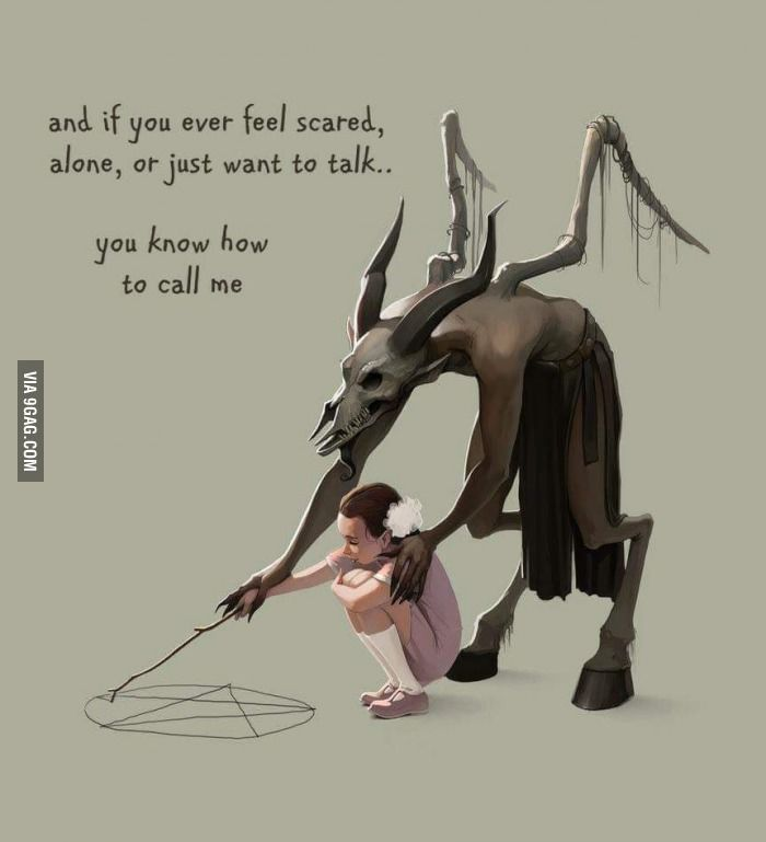 Satan2222 | Original Art  By Glooh  -  And if you ever feel scared, alone, or just want to talk ... You know how to call me. [9Gag - Pentagram - Satan - Illustration]