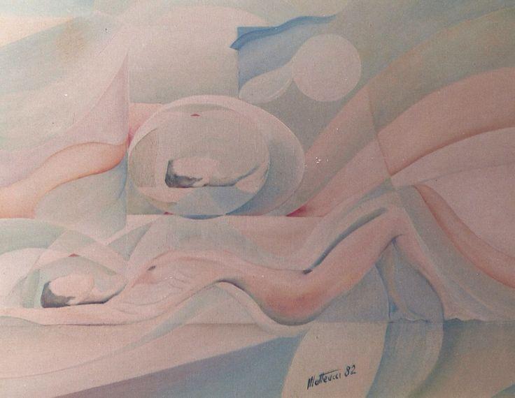 """""""sdoppiamento"""", oil on canvas, 1982"""
