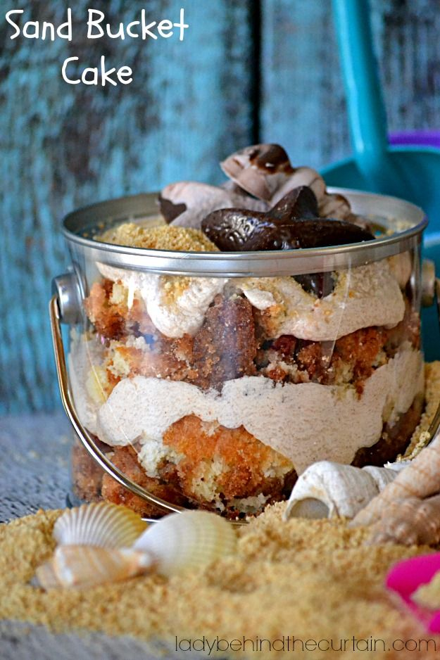 I love this idea!  I don't think the kids will go for cinnamon cake, but the idea is precious!  Definitely thinking about this for the pool party! Sand Bucket Cake - Lady Behind The Curtain
